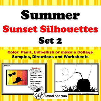 Summer Sunset Silhouette Art Project, Set 2
