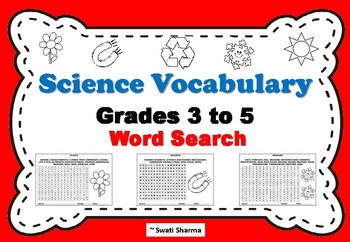 Science Vocabulary Word Search For Grades 3 to 5