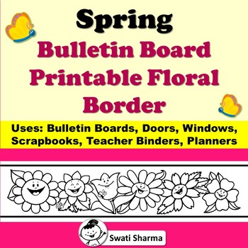 Spring Bulletin Board Happy Flowers Printable Border for Coloring
