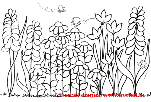 Flower Garden Colouring Games : flowerbed, group of flowers, Spring coloring page