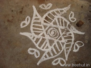 chalk-rangoli-pattern 6 petal flower Indian art