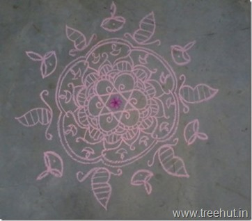 chalk-rangoli-pattern for good energy at home