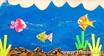 wax resist fish and underwater collage paper stencil