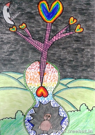 How a seed grows Child art by Khushi GUrnani Study Hall Lucknow India
