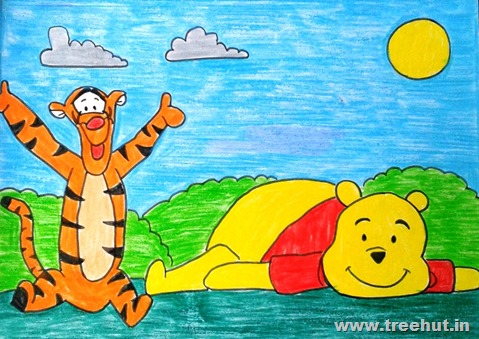 Winnie the pooh Child art by Mridu Study Hall Lucknow India