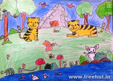 World tiger day Child art by Kashish Yadav Study Hall Lucknow India