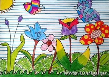 Flowers sketch pen art by child Mridu Chopra Lucknow India