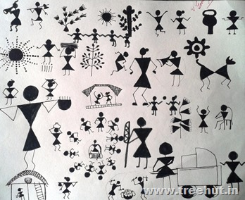 Warli art by child Mridu Chopra Study Hall Lucknow India