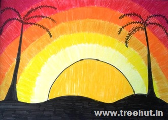 Sunset in crayons by child Mridu Lucknow India