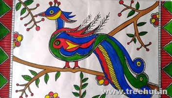 Peacock by child artist Poojit CHoudhary Study Hall Lucknow India