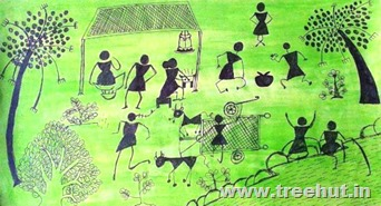 Warli art by child Saniya Sinha Lucknow India
