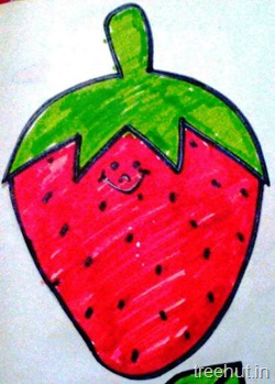 strawberry fruitname tag for school children