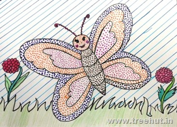 Dot art technique butterfly by child Ekta Sachan