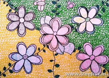 Mosaic art flowers by child Tweesha Agarwal Lucknow India