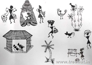 Warli art by child Anaya Singh Lucknow India