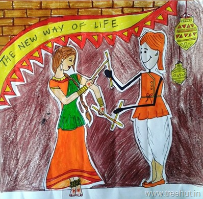 Dandia dancers in art by child Hasnain Wahid