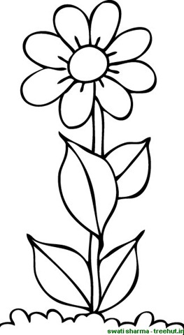 Flower coloring pictures for Easy flower coloring pages
