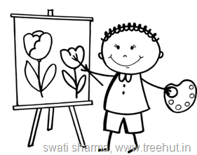 Child artist coloring page
