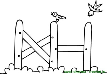 Birds on a fence coloring page