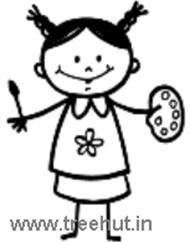 Girl with brush and pallette coloring page