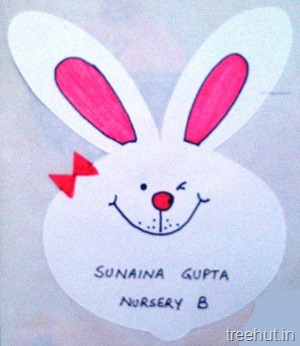 white smiling bunny name tags for kids