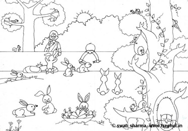 Pet bunny rabbits colouring page