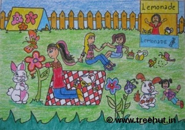 Fun outdoors in crayons by child artist Ananya Singh Study Hall school Lucknow India