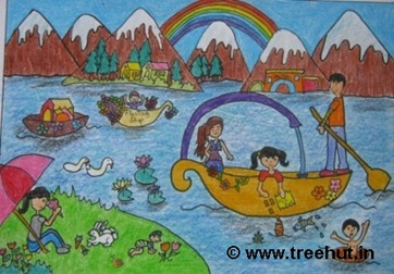 Kashmir scene in crayons by child artist Ananya Singh Study Hall school Lucknow India