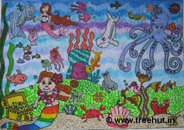 Mermaids and life under sea by child artist Ananya Singh India