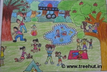 Picnic scene in crayons by child artist Ananya Singh Study Hall school Lucknow India