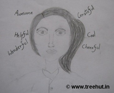 Self portrait by child artist Ananya Singh India