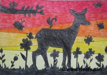 deer at sunset in crayons by Ananya Singh India