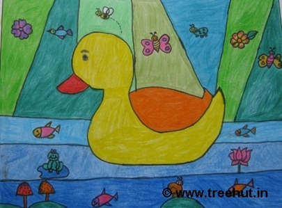 Duck in crayons by child artist Purnima Yadav Study Hall school Lucknow India