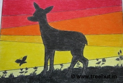 deer sunset silhouette child art by tanisha sigh grade 4