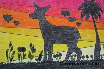 deer warm colors silhouette child art by laxmi verma grade 4