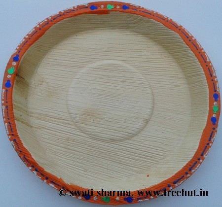 Eco friendly plate hand painted for Indian wedding craft idea