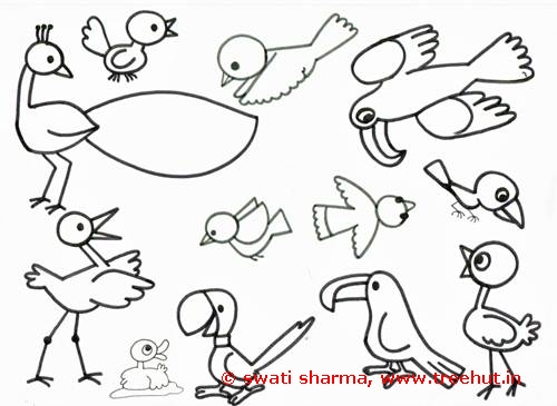 Different birds of the world coloring page