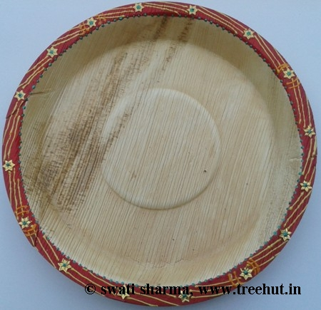 Indian decorative eco friendly hand painted plates art idea