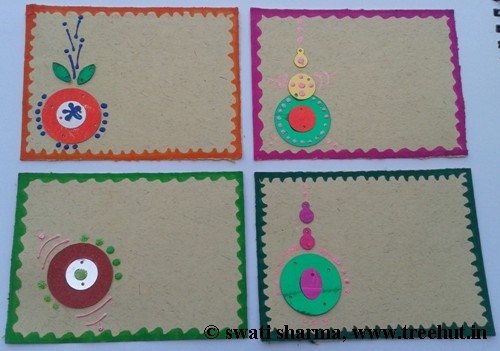 Craft therapy Indian art on gift tags