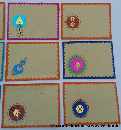 Sequins used in Indian art on gift tags
