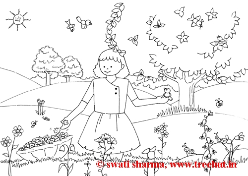 girl picking flowers coloring sheet