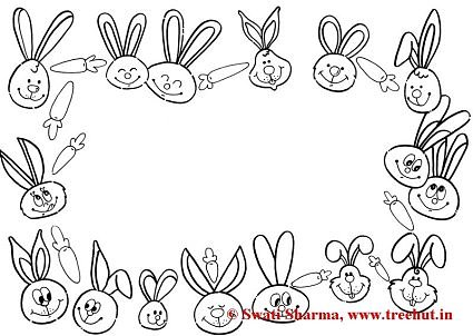 Bunny Picture frame coloring page for art therapy
