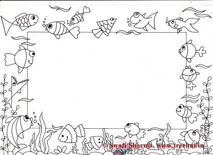 Fish Picture frame coloring page for art therapy
