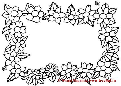 Floral garland Picture frame coloring page for art therapy