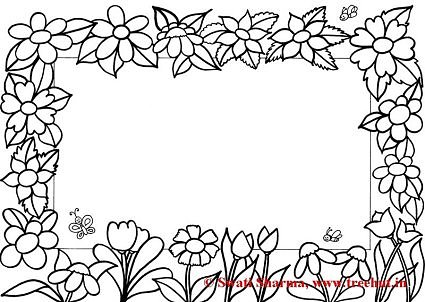 Flowers Picture frame coloring page for art therapy
