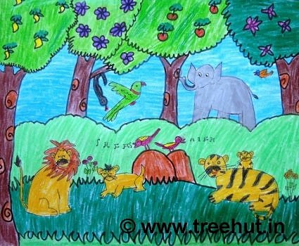 Jungle scene in crayons by child