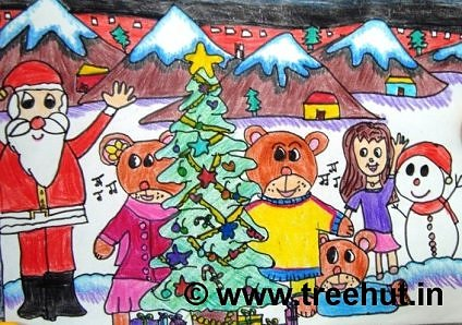 Christmas celebration in art by student of Study Hall school, Lucknow, India