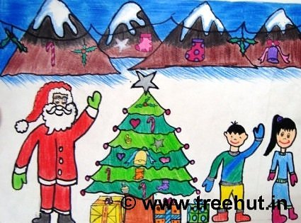 Christmas eve in art by primary school student, Lucknow, India