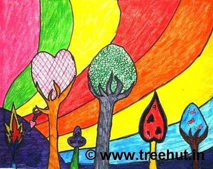 Imaginary trees in art by kids