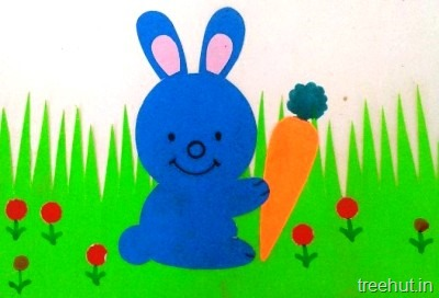 blue easter bunny carrot kids crafts for preschool toddlers